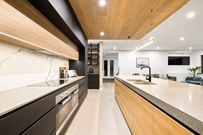 GRIS FUMA QUARTZ (benchtop); STATUARIO SIX+ (splash) - Evoque Interiors, Adept Construction, Weston Kitchens